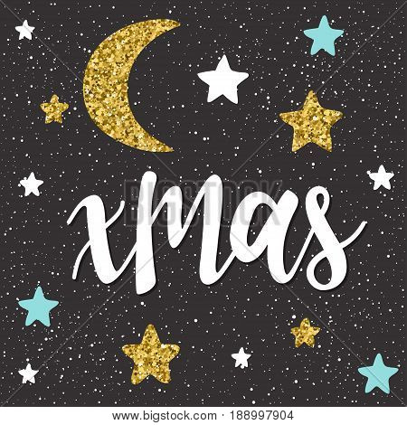 Xmas. Handwritten Lettering And Handmade Star Isolated On Black.