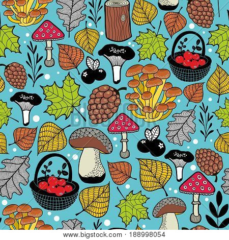 Bright seamless pattern with autumn forest gifts. Vector endless background.