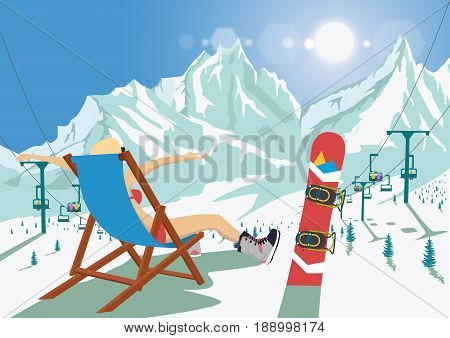 Female snowboarder in bikini sitting in a deck chair relaxing in mountain ski resort. Bright sun and ski chair lift