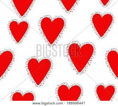 Seamless pattern with decorative hearts. Vector background.