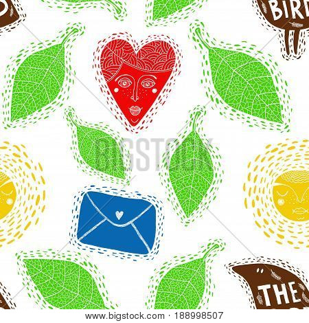 Seamless pattern with decorative elements. Vector background with flora.