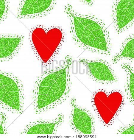 Seamless pattern with decorative spring leaves and young hearts. Vector background.