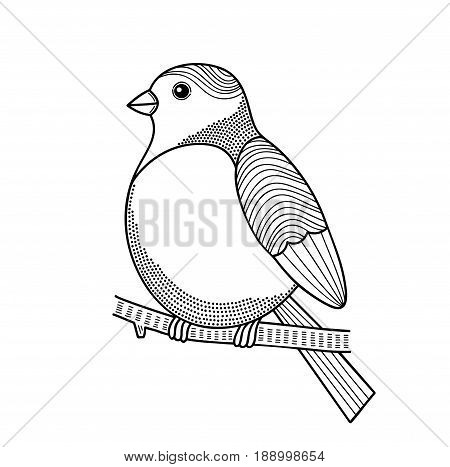 Bird on the branch. Vector illustration for coloring.