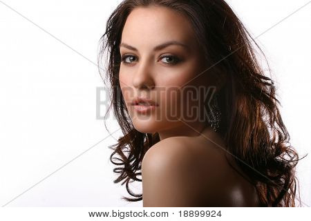 portrait of beautiful woman wearing a black bra