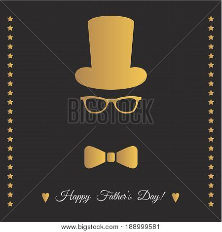 Father's  Day Greeting Card With Gold Hat, Glasses And  Bowtie.