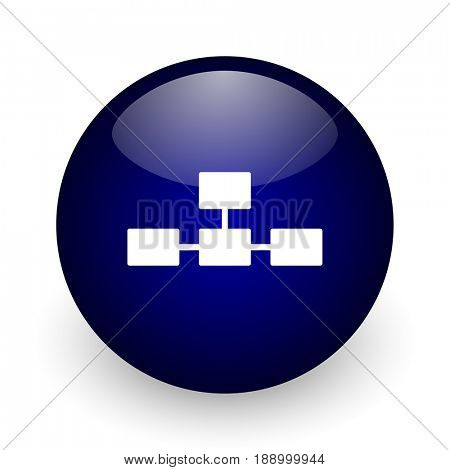 Database blue glossy ball web icon on white background. Round 3d render button.