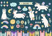Unicorn and fairytale isolated elements for your design. Castles, rainbow, crystals, clouds and flowers. Cute clipart collection. Vector illustration poster