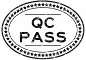 Grunge black QC pass oval rubber seal stamp on white background poster