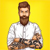 Vector pop art illustration of a brutal bearded man, macho with tatoo folded his arms over his chest poster