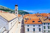 Dubrovnik Croatia. Famous Placa (Stradun) street from the city walls. poster