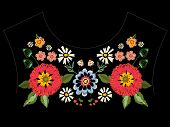 Embroidery native neckline pattern with poppies and fantasy flowers. Vector embroidered traditional floral design for fashion wearing. poster