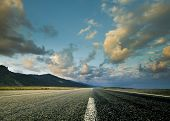 Road and the dramatic sky with strong perspective poster
