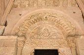 Entrance of Church of Nuestra Senora de la Pena (XII century) Romanesque Sepulveda. Segovia provinceSpain poster