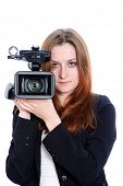 young video operator with HDV camcorder poster