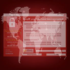 Malware Ransomware wannacry virus encrypted files and show massage for bitcon payment on world background. Vector illustration cybercrime and cyber security concept.
