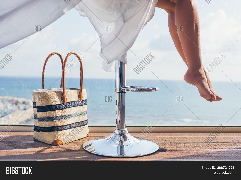 Girl Beach Bag Sitting Image Photo Free Trial Bigstock