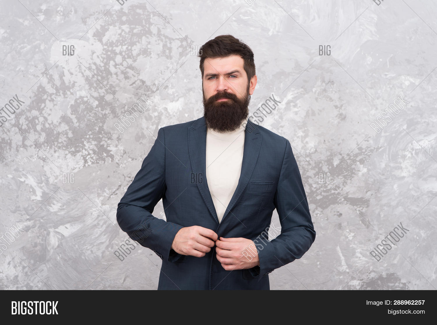2bdc684e Man Handsome Bearded Businessman Wear Formal Suit. Menswear And Fashion  Concept. Man Of Style