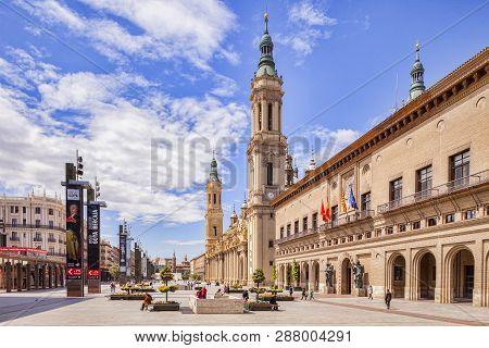 29 April 2015: Zaragoza, Aragon, Spain - Plaza Del Pilar, Main Thoroughfare In The Old Town, With Pe