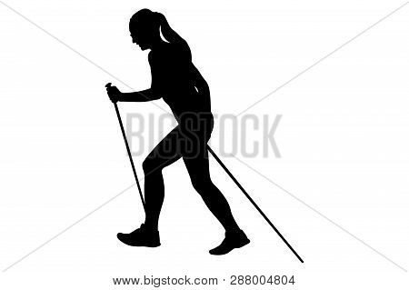 Girl Runner Skyrunner With Trekking Poles Running Uphill Black Silhouette
