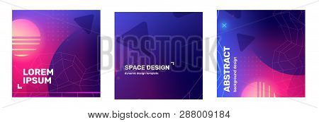 Vector Set Of Creative Pink And Purple Retro Space Abstract Square Illustration In Frame With Sphere