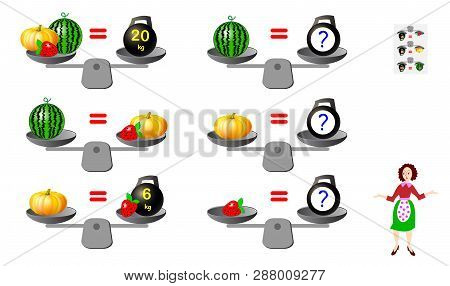 Mathematical Logic Puzzle Game For Children And Adults. Need To Calculate Weight Of Products. Printa