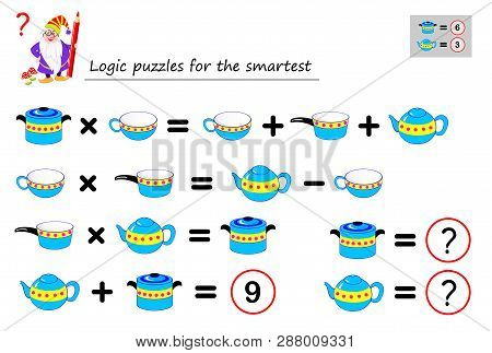 Mathematical Logic Puzzle Game For The Smartest. Need To Calculate Value Of Dishes. Printable Page F
