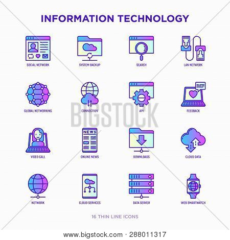 Information Technology Thin Line Icons Set: Social Network, System Backup, Search, Lan Network, Conn