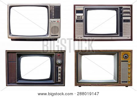 Set Of Classic Vintage Retro Style Old Television With Cut Screen, Old Tv Isolated On White Backgrou