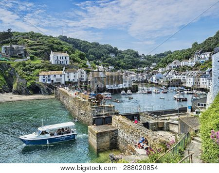 6 June 2018: Polperro, Cornwall, Uk - One Of The Most Beautiful Villages In Cornwall, On An Idyllic