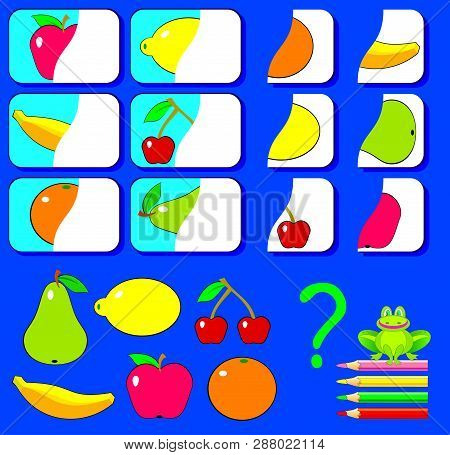 Logic Exercise For Children. Need To Find The Second Parts Of Fruits And Draw Them In Relevant Place