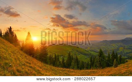 Sunrise In Countryside. Autumn Mountain Conifer Forest Under Rising Sun