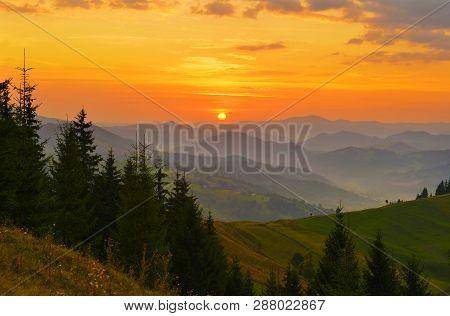 Sunrise Highland. Rising Sun Above Misty Highland