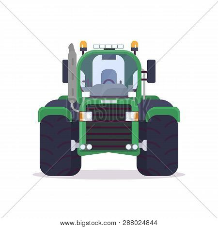 Front View Of Tractor For Farming. Flat Style Vector Illustration. Agriculture Vehicle And Transport