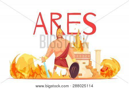Ancient Greece Olympian God Of War Ares In Helmet With Sword Amidst Battle Flat Cartoon Vector Illus