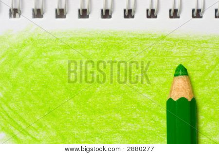Green Color Pencil With Coloring