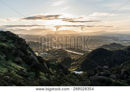 Spring morning view towards Porter Ranch from Rocky Peak Park above the San Fernando Valley in Los Angeles, California.