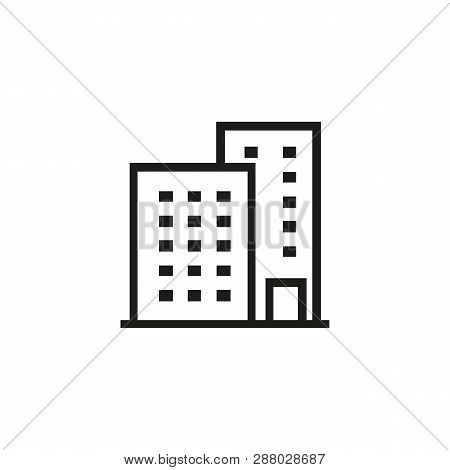 Condo Line Icon. Residential District, Real Estate, Tenement House. Building Concept. Can Be Used Fo