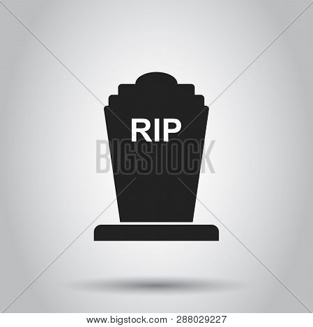 Halloween Grave Icon. Vector Illustration On Isolated Background. Business Concept Gravestone Rip To