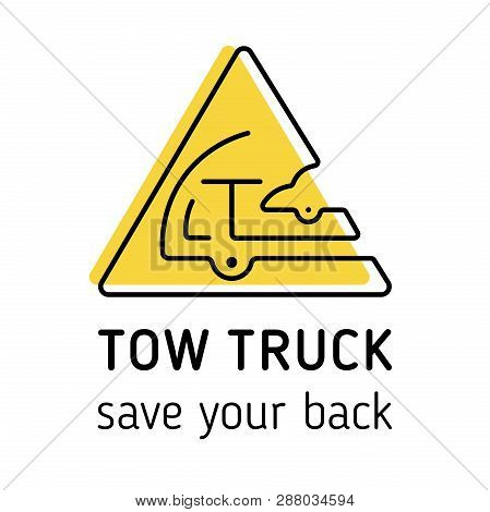 Towing Truck Icon Vector. Towing Truck Icon Isolated Vector For Logo, Branding. Flat  Towing Truck I