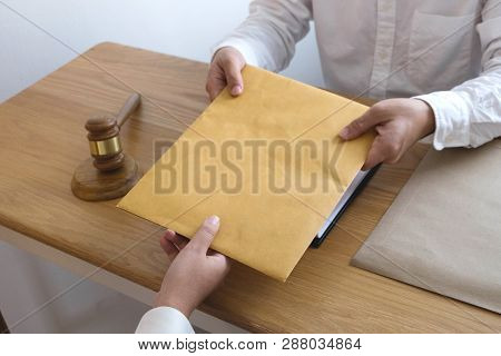 Lawyer Send A Contract Documents To Client In Office. Consultant Lawyer, Attorney, Court Judge, Conc