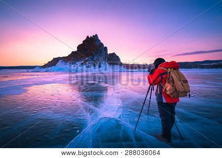 Photographer Or Traveller Using A Professional Dslr Camera Take Photo Beautiful Landscape Of Baikal