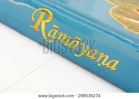 Maski,karnataka,india - March 07,2019 : The Epic Hindu Ramayana Book On Isolated Background