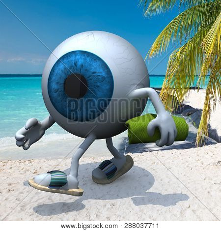 Blue Eye Ball With Arms, Legs, Sandals And Towel On The Beach, 3d Illustration