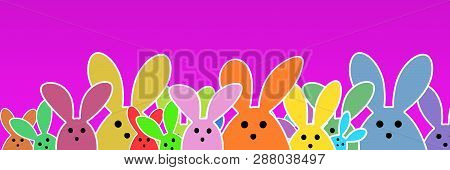 Easter Bunnies As Illustration On Pink Colored Background With Soft Yellow Glow. Playful Easter Bunn