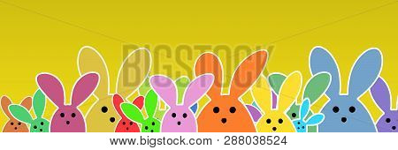 Easter Bunnies As Illustration On Yellow Colored Background With Soft Yellow Glow. Playful Easter Bu