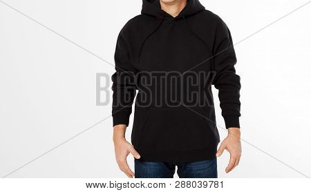 Man In Black Sweatshirt, Black Hoodies Front Isolated, Mock Up,copy Space Cropped Image