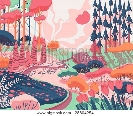 Spring Landscape With Hills, Trees, Plants, Bushes, Pathway And Tulips Flowers . Beautiful Scenery B