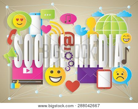 Concept Of Social Media With Words, Paper Cut Design Vector Illustration, For Graphic And Web Design