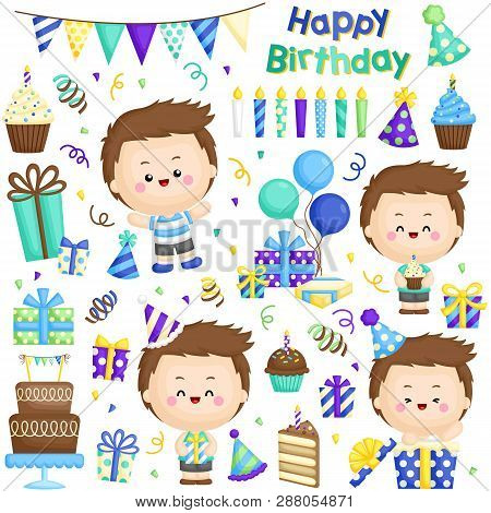 A Vector Set Of Cute Little Boy Celebrating His Birthday With Lots Of Gifts And Cakes