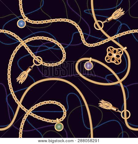 Seamless Pattern With Chains, Pendant And Tassels. Colorful Trendy Jewelry Print For Fabric, Scarf,